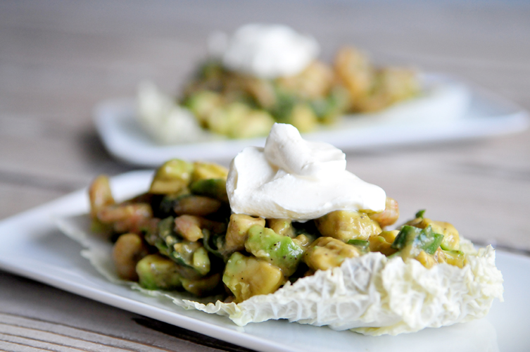 Salade van garnalen en avocado