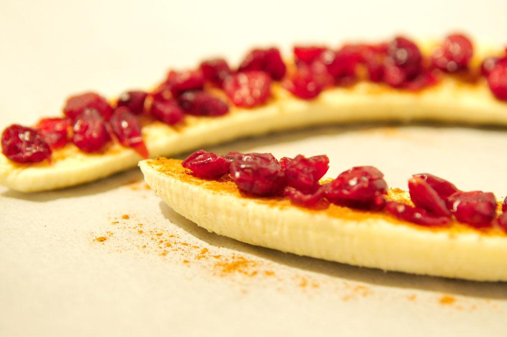 Banaan uit de oven met cranberries