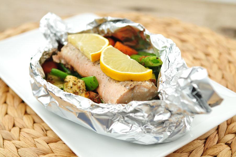 zalm pakketjes uit de oven met verse groenten-voedzaam & snel