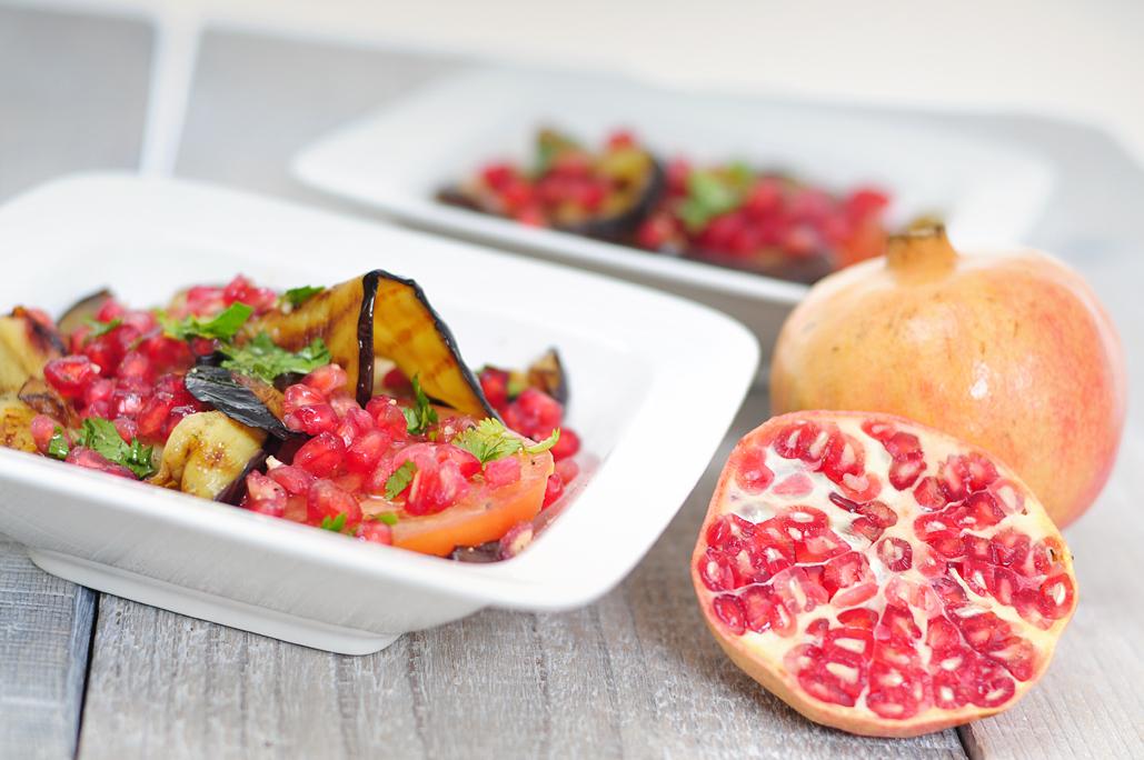 Aubergine salade met granaatappel