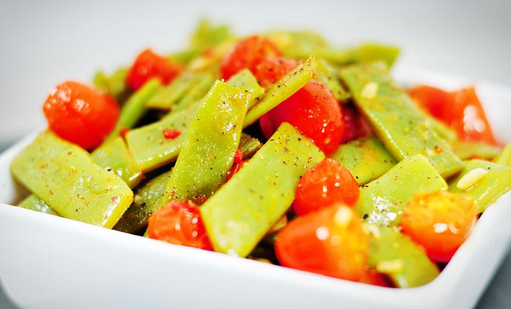 Snijbonen met tomaat en knoflook