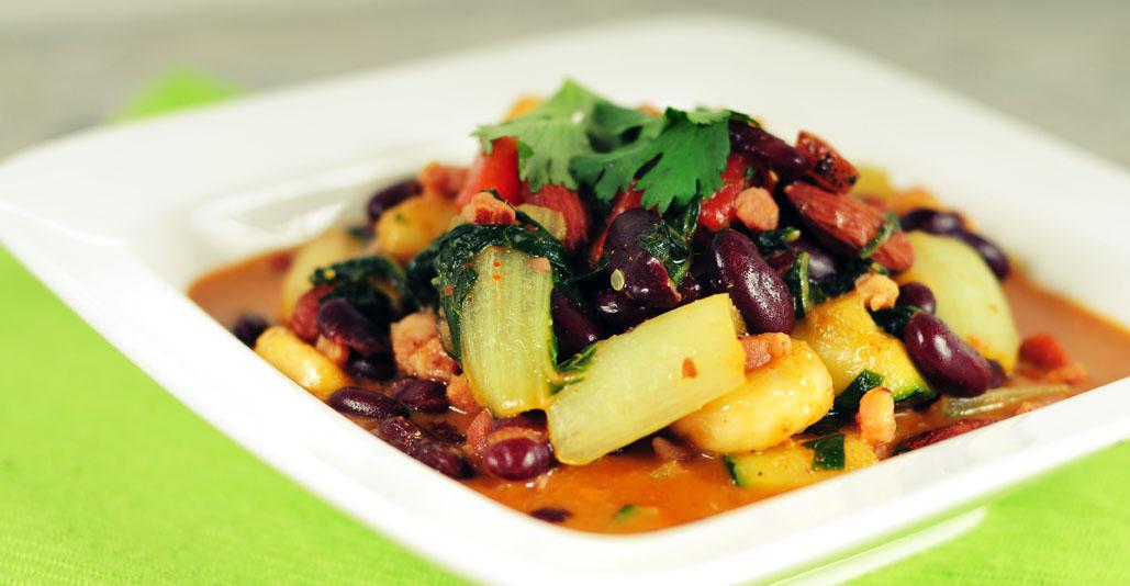 Gele curry met rode kidneybonen
