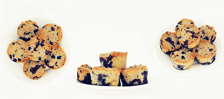 Muffins met chocolade en bosbessen - glutenvrij