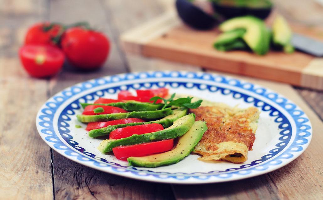 Gebakken ei met tomaat en avocado