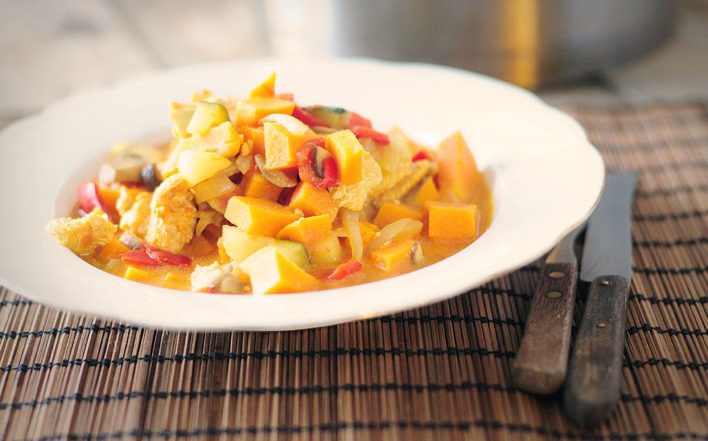 Chicken curry met courgette en appel