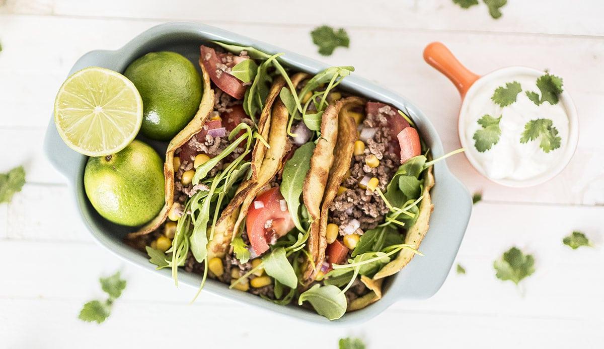 Healthy tortilla's gevuld met gehakt