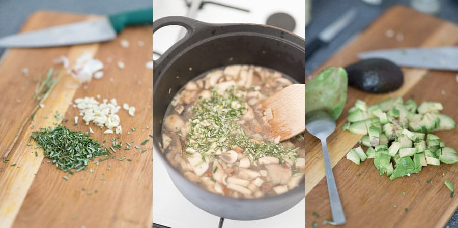 Romige champignonsoep met avocado en rozemarijn