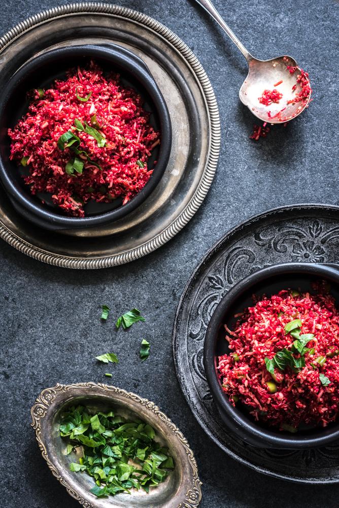 Salade van quinoa en rode biet