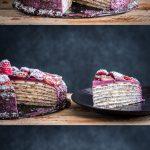 3 afbeeldingen van de pannenkoekentaart. In zijn geheel, met een stuk eruit, een een los stuk op een bord