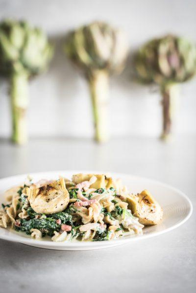 pasta met artisjok en spinazie