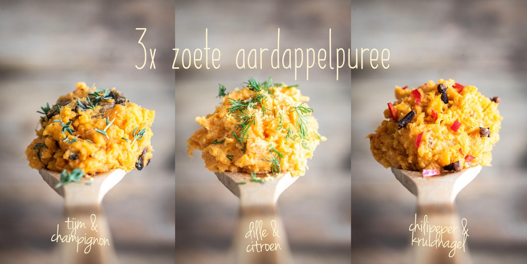 3x zoete aardappelpuree