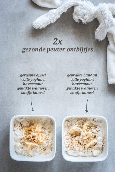 Gezond peuter ontbijt met fruit yoghurt en granen