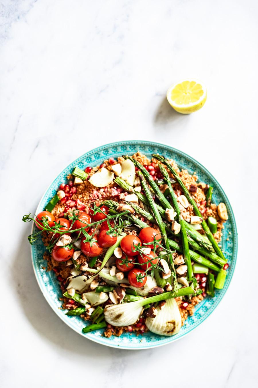 couscous salade met gegrilde groenten van de BBQ