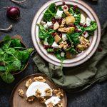 gemarineerde spinazie met peer granaatappel en zachte geitenkaas