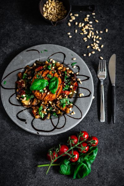 tomaten risotto met gegrilde groente