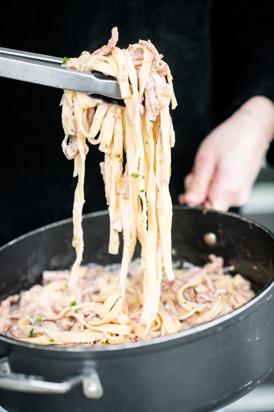 Recept voor vegetarische pasta carbonara